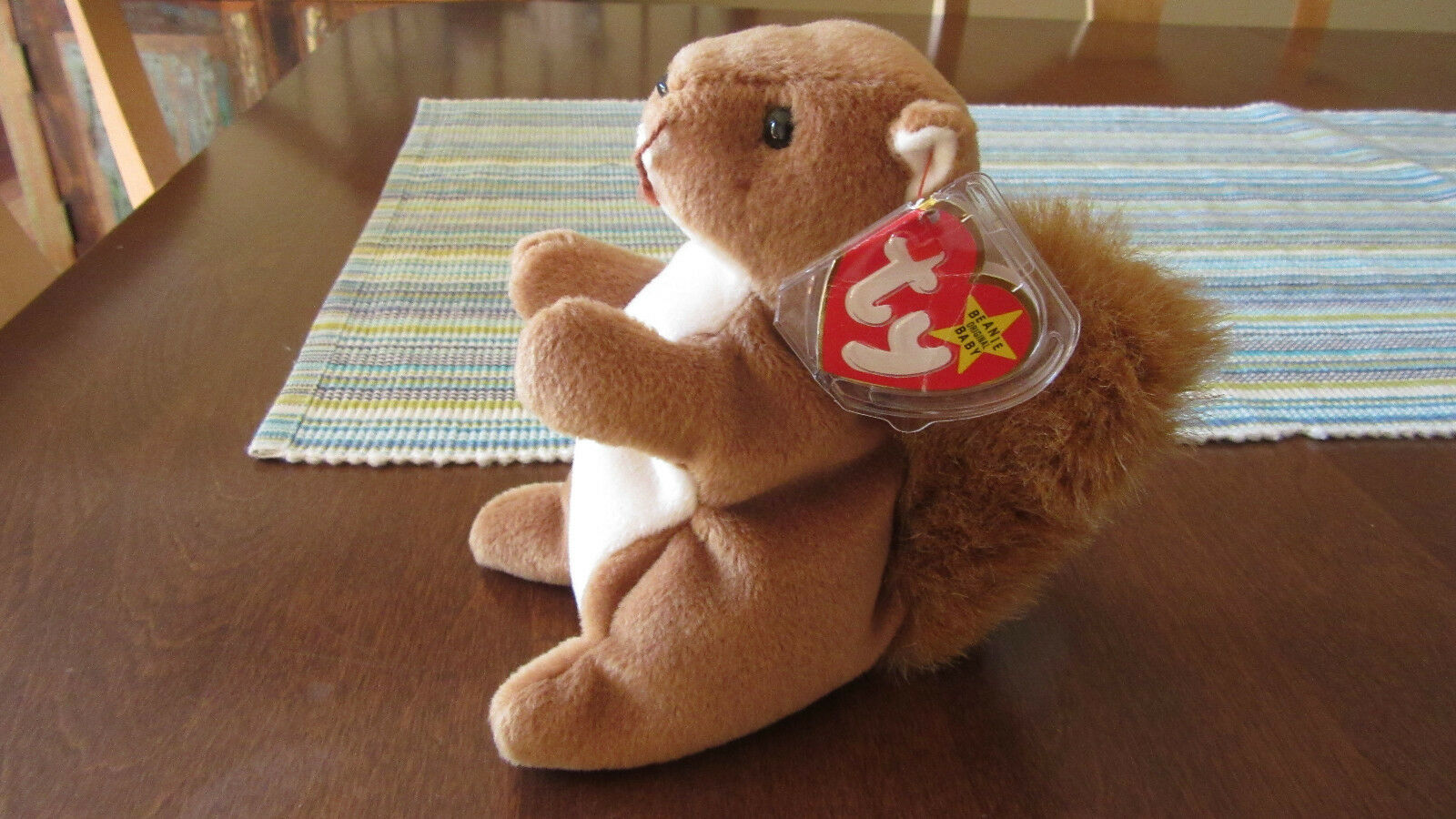 RARE 1996 Ty Beanie Baby  Nuts  the Squirrel, 4th Generation, Retired
