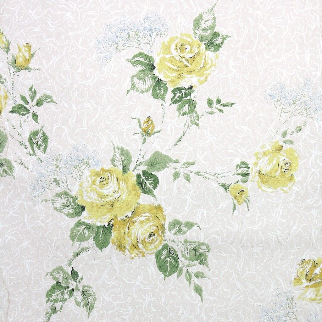 1950s Floral Vintage Wallpaper Yellow pinks and bluee Baby's Breath