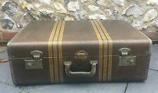 Vintage 1940's McBrine Hard Tweed Suitcase / Trunk Fab Interior & Cunard labels