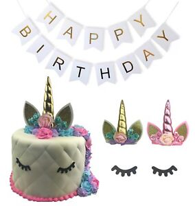 Image Is Loading Unicorn Cake Topper Happy Birthday Banner Party Edible
