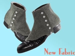 Guetres-VINTAGE-HOMME-RETRO-CHIC-GATSBY-DANDY-GAITERS-SHOES-VERT-DE-GRIS-chine