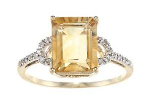 10k-Oro-Giallo-Taglio-Smeraldo-Citrino-e-Anello-Diamante-1-8-Tdw
