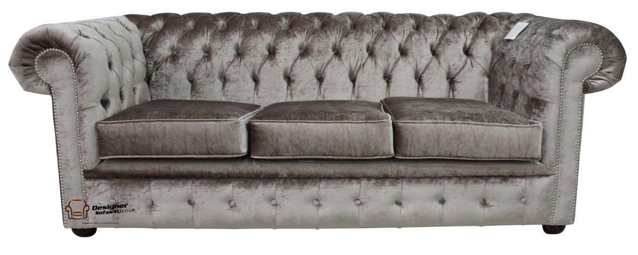 Details About Chesterfield 3 Seater Boutique Beige Velvet Fabric Sofa Settee