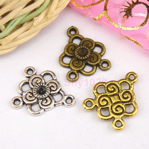 10Pcs Tibetan Silver,Gold,Bronze Flower 1-2 Charms Pendants Connectors M1119