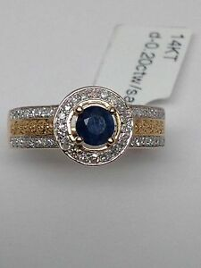 14k-Yellow-Gold-Natural-Sapphire-and-Pave-Set-Diamond-Halo-and-Band-Ring-New