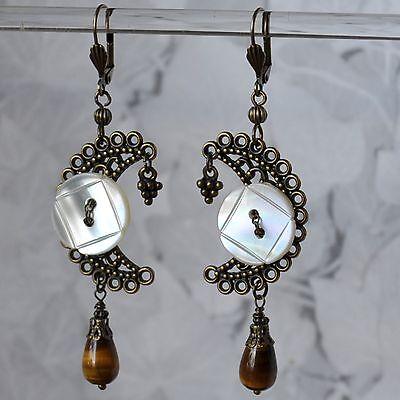 Ohrschmuck bronze Ohrringe Tigerauge Tropfen Messing antikgold Perlmutt Knopf