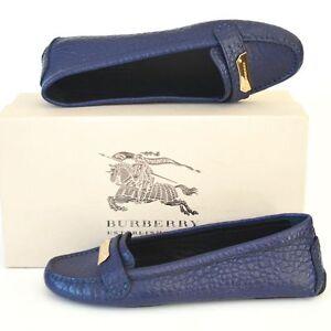 BURBERRY New sz 38.5 - 8.5 Authentic Designer Womens Drivers Flats Shoes blue