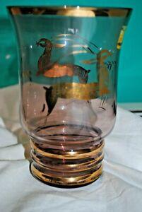 Vase Ancien En Verre Doré - Biches - Cerfs - Chasse - Chasseur - Saint-hubert Mdoiuh57-07220619-532165900
