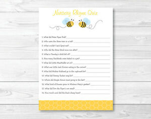 Bumble Bee Baby Shower Nursery Rhyme Quiz Game Printable Ebay