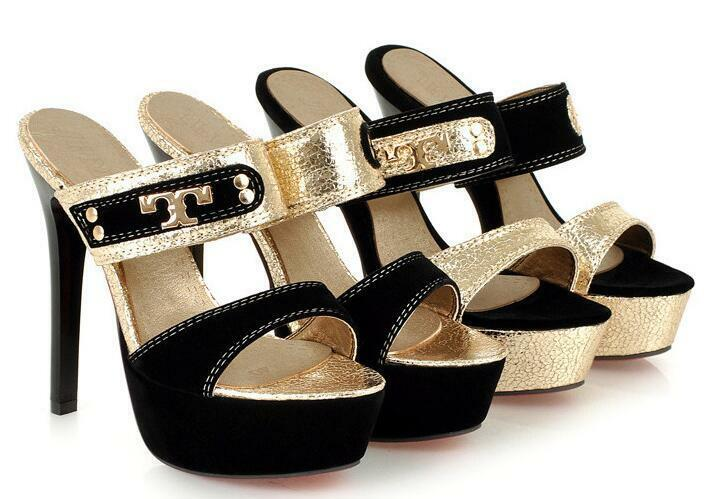 Scarpe ciabatte sabot sandali tacco nero plateu 13 cm oro nero tacco elegante 8536 0dfefd
