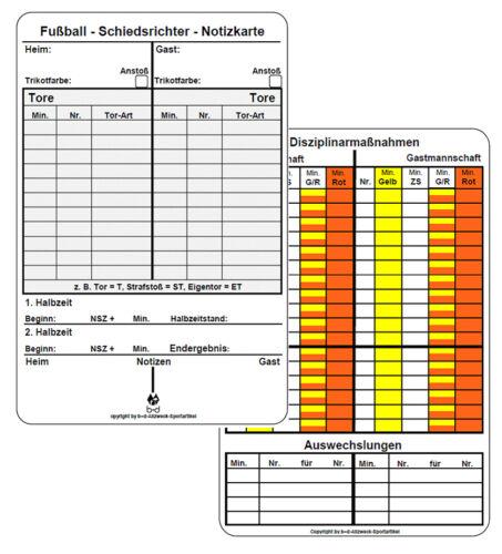 50 b+d Schiedsrichter Spielnotizkarten Fußball NEUE GENERATION Notiz Karten
