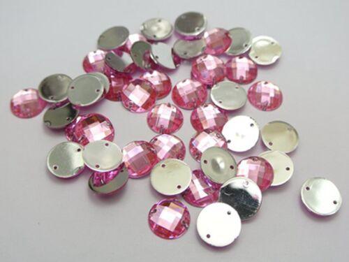 200 Rosa Flatback Acrílico Redondo Coser botón del rhinestone 10mm cose en granos