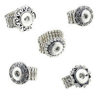 Wholesale Lots Stretch Adjustable Rings Fit Mini Snap Button Glaze size free