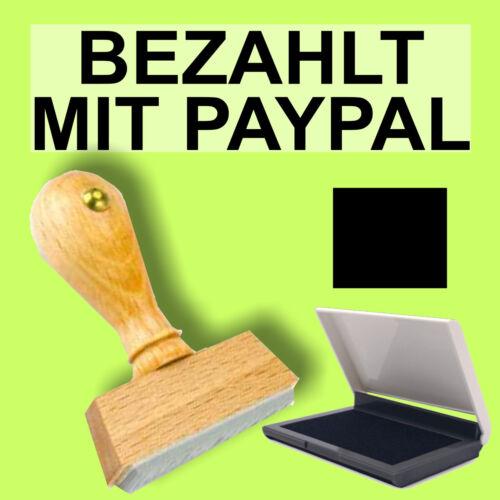 BEZAHLT MIT PAYPAL Holzstempel 10 x 35mm Büro Stempel S1F Schwarz