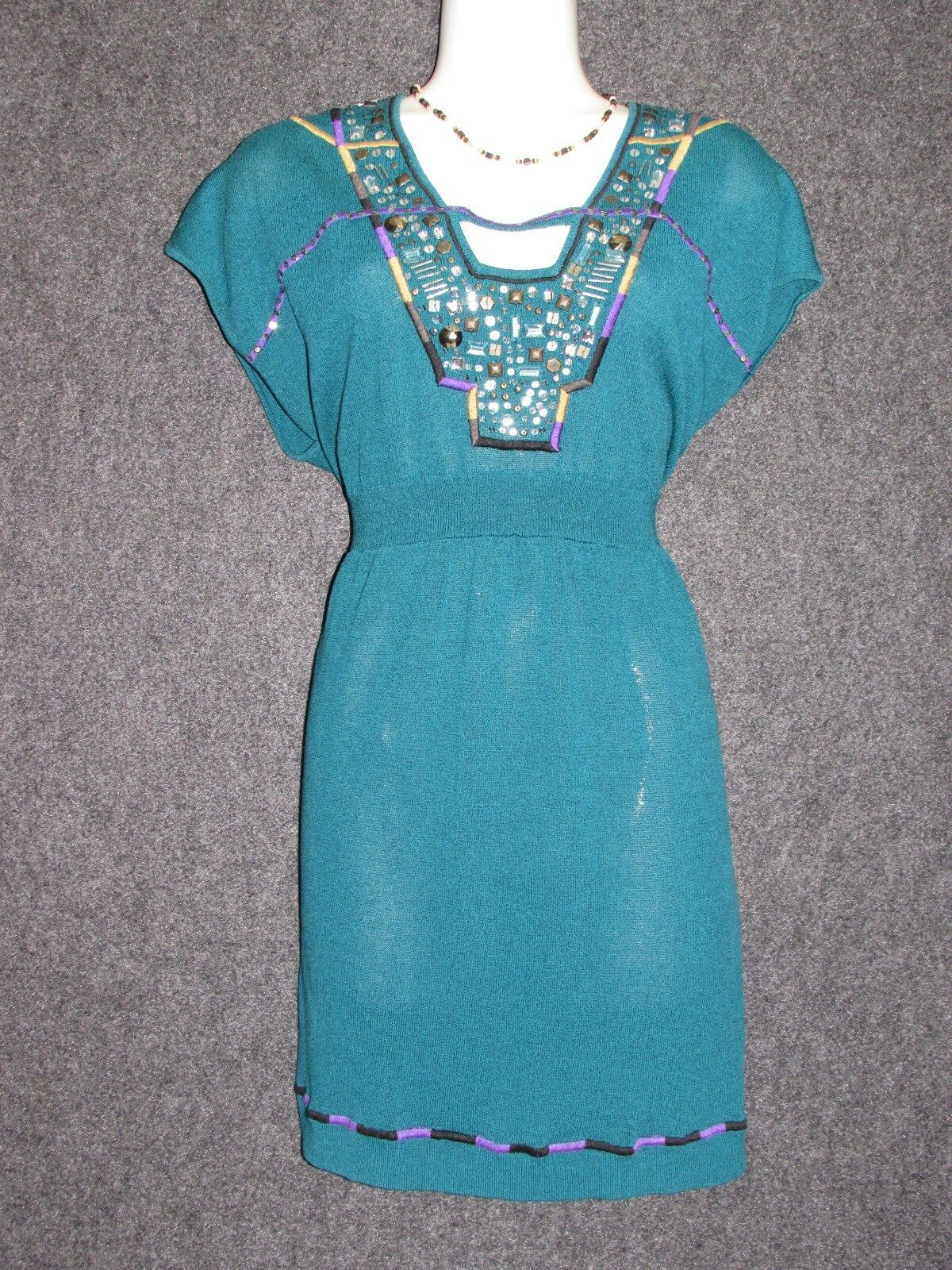 NANETTE LEPORE Turquoise w colorful Embellishment Beaded DRESS SZ L