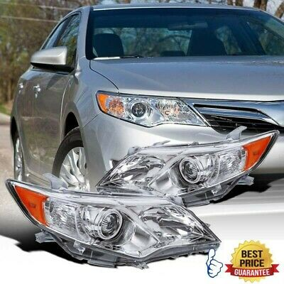 For 2010-2011 Toyota Camry Hybrid Headlight Assembly Chrome Housing Amber Reflector Projector Headlights Driver /& Passenger Side