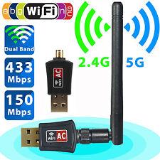 600 Mbps Dual Band 2.4/5Ghz Wireless USB WiFi Network Adapter 802.11AC w/Antenna