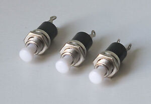 3 X Miniature push button small switches momentary action solder tag in WHITE