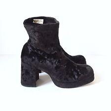 VTG 90s Velvet Ankle Boots Platform Club Kid Grunge Goth Sz 7