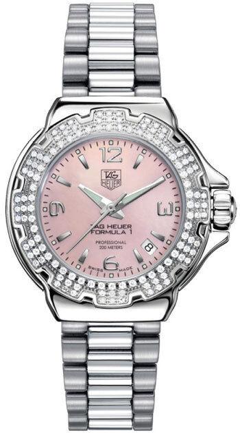 c1724eb97f6 BA0852 Tag Heuer Formula 1 Glamour Diamond Ladies Pink Pearl Steel Watch