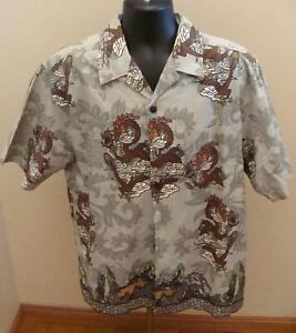 Point-Zero-Dragon-Design-Hawaiian-Aloha-Camp-Shirt-Medium-100-Cotton