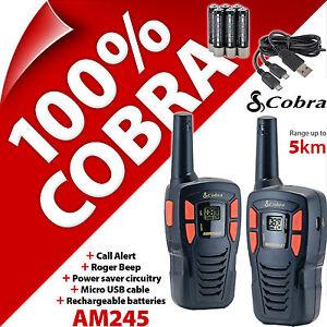 Cobra-AM245-2-Way-Walkie-Talkie-Radios-5km-Rechargable-PMR-446-AM-245-Twin-Pack