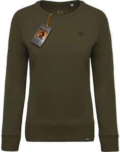 üppiges Design neue Season auf Lager Details zu KRB K481 Damen Bio-Baumwolle Sweatshirt COMPANIEER Pullover Grün  Olive Melange