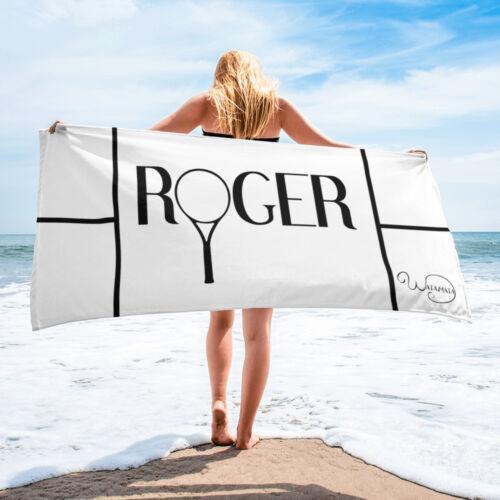 White beach towel Roger Federer fan tennis racket