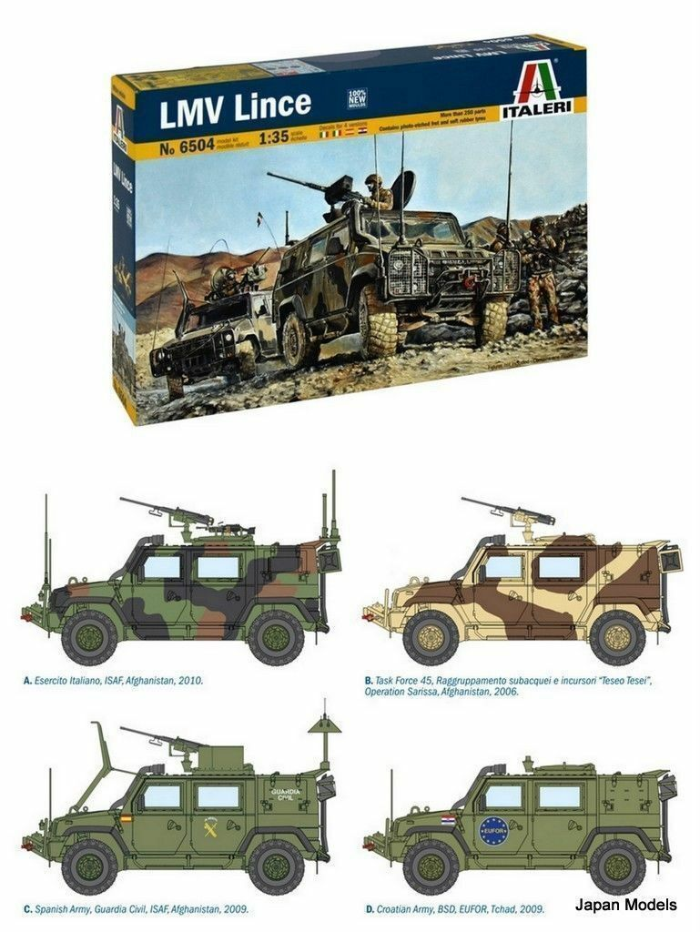LMV LINCE Contains Photo Etched And Rubber Tyres Italeri No.6504 1 35 Model Kit