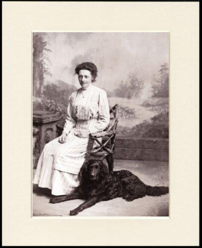FLAT COATED RETRIEVER EDWARDIAN LADY AND DOG PHOTO PRINT MOUNTED READY TO FRAME