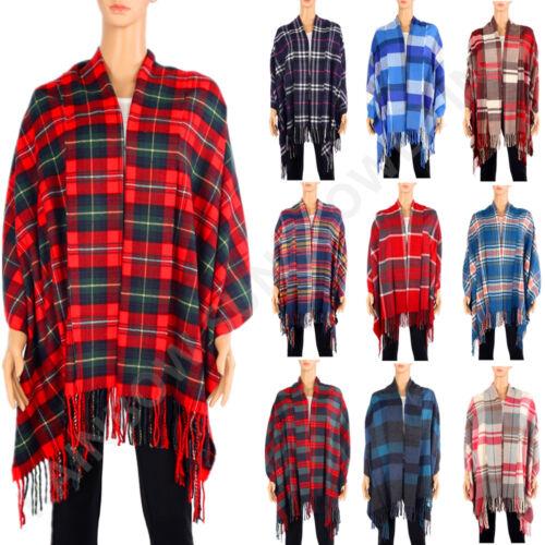 Men Women/'s 100/% Cashmere Thick Shawl Poncho Blanket Scarf Tartan Stripe Plaid