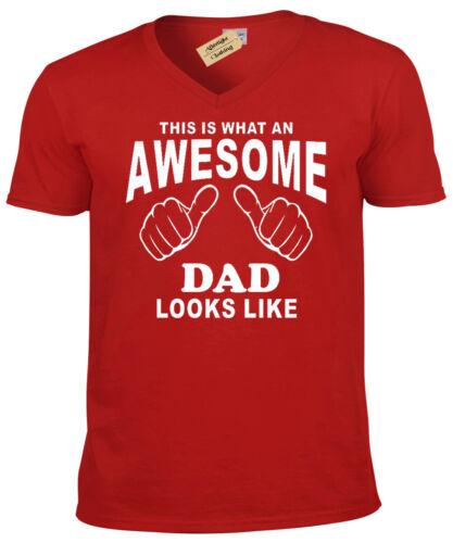 Awesome PAPA T Shirt Homme Cadeau Fête des Pères V-Neck Tee Top Cadeau