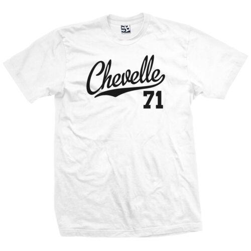 1971 Classic Muscle Race Car All Size /& Colors Chevelle 71 Script Tail Shirt