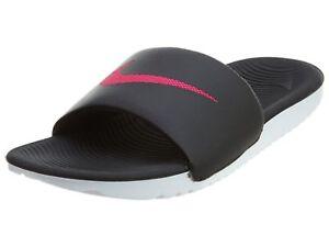 f043df8f5c51b3 Nike Kawa Slide Womens 834588-060 Black Vivid Pink Logo Slides ...