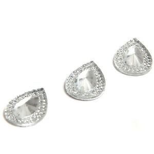 50x-Clear-Faceted-Teardrop-Sew-on-Resin-Rhinestone-Button-Pretty-Fine-Gifts