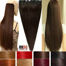 Brown Black Color Clip In Remy Human Hair Extensions 3/4 Full Head 1 Piece F887
