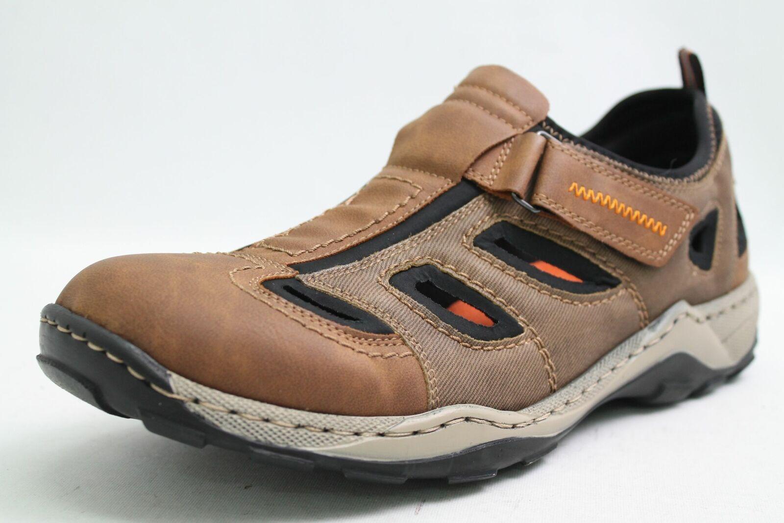 braun Schuhe Hightech Rieker Slipper Klettverschluss