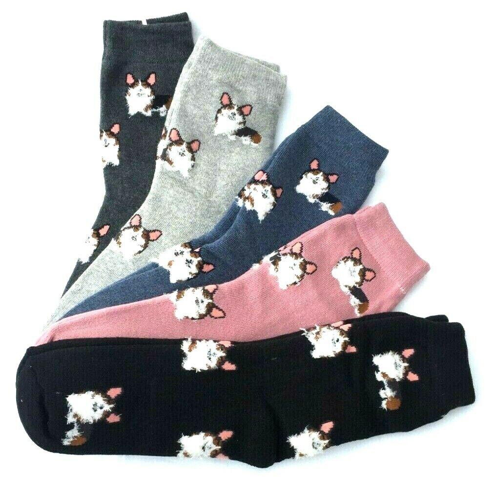 5 Paar Damen THERMO Socken Frottee Strümpfe Winter Warm Hunde 35-41 #111