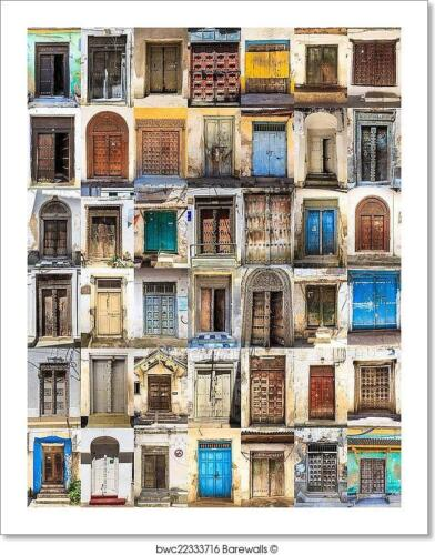 42 Front Doors Horizontal Collage Of Art Print Home Decor Wall Art Poster H