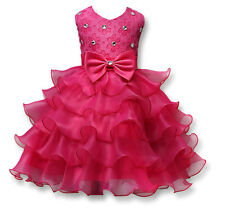 Kid Little Girls Toddler Princess Pageant Party Tutu Bow Flower Formal Dress Hot