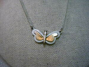 Vintage White and Gold Enamel Butterfly Necklace