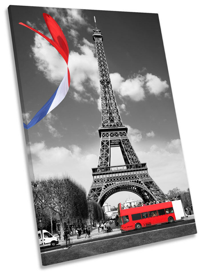 Eiffel Tower Bus Flag Framed CANVAS WALL ART Print Picture