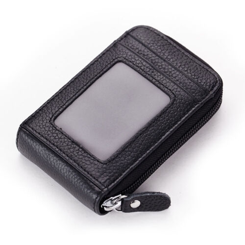 New Men/'s Women/'s Real Leather Credit Bank ID Card Holder Purse Bag