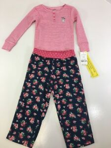 74f06990c CARTER S TODDLER GIRL 2 PIECE COTTON   FLEECE PJ SET PINK NAVY 2T ...