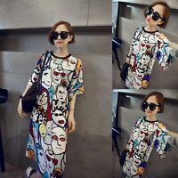 Colorful Oversized Womens Short Sleeve Face Print Dress Blouse T Shirt Tee Dress