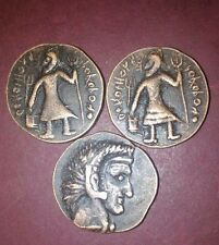 Ancient India kushan dynastry 3 different copper coin set -