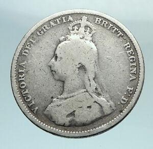 1887-UK-Great-Britain-United-Kingdom-QUEEN-VICTORIA-Silver-Shilling-Coin-i79539