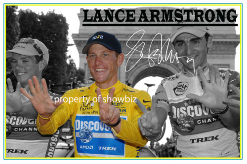 LANCE ARMSTRONG HUGE SIGNED PHOTO OF THE TOUR DE FRANCE 7 TIMES WINNER