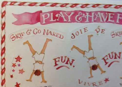 """Susan Branch•Have Fun•Go Naked •Gymnastics•SALE Aprox.5/""""x 4.5/"""" PLAY TIME Sticker"""