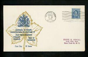 Postal-History-Canada-FDC-276-Unknown-Royal-Wedding-QEII-1948-Ottawa-ON